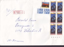 Denmark Registered Einschreiben Label SVENDBORG 1995 Cover Brief 6-Block NORDIA W. Margin Roskilde Festival Stamps - Dänemark