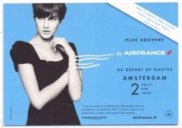 Carte Publicitaire Air France Depart Nantes Amsterdam  KLM  2010 Cart Com Eco - Advertising
