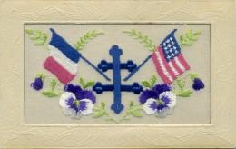Carte Brodée Militaire - Croix De Lorraine, Drapeaux: France Et Etats Unis - Brodées