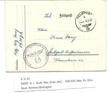 WW2 - Occupation Allemande - Feldponummer 59307A - Rennes (Ille Et Vilaine) - 1943 - Guerra Del 1939-45
