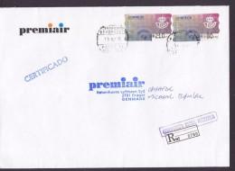 Spain PREMIAIR Registered Certificado Label AEROPUERTO Palma MALLORCA 1996 Cover Letra Denmark ATM / Frama Labels - Poststempel - Freistempel