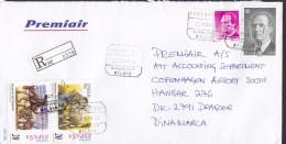 Spain PREMIAIR Registered Certificado Label AEROPUERTO MALAGA 1999 Cover Letra Denmark Juan Carlos Don Quijote Pair !! - 1991-00 Briefe U. Dokumente