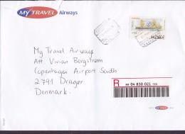 Spain MY TRAVEL AIRWAYS Registered Certificado Label Aeropuerto TENERIFE 2003 Cover Letra Denmark ATM / Frama Label Ship - Poststempel - Freistempel