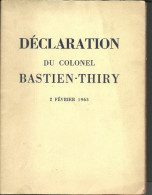 DECLARATION DU COLONEL BASTIEN-THIRY 2 Février 1963 - Politiek