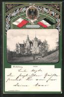 Passepartout-Lithographie Bückeburg, Blick Zum Schloss, Wappen, Reichsfahne - Ansichtskarten