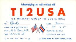 Amateur Radio QSL Card - TI2USA - US Military Group Costa Rica - 1967 - 2 Scans - WITH STAMPS - Radio Amateur