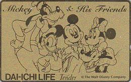 Télécarte Dorée Japon / 110-175427 - DISNEY - Dai Ichi Life - Japan Gold Phonecard Telefonkarte Assu - Disney