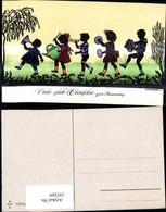 193269,Künstler Ak F. Kaskeline Scherenschnitt Silhouette Kinder Musizieren Instrumen - Silhouettes
