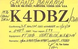 Amateur Radio QSL Card - K4DBZ/C6A - Grand Bahama - 1976 CQ WW DX CW Contest - Radio-amateur