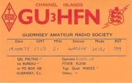 Amateur Radio QSL Card -  GU3HFN - Channel Islands, UK - 1978 - Radio Amateur