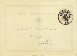 Entier Postal Lion Couché Double Cercle ANDENNE 1876 Vers LIEGE Signé Vve Ramelot Libraire à ANDENNE - Enteros Postales