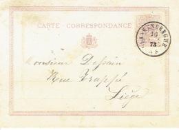 Entier Postal Lion Couché Double Cercle  BLANKENBERGHE 18763 Vers LIEGE - Enteros Postales
