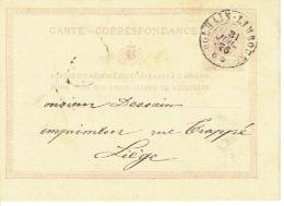 Entier Postal Lion Couché Double Cercle DOLHAIN-LIMBOURG 1876 Vers LIEGE Signé L. WILLEMS - Enteros Postales