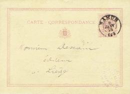 Entier Postal Lion Couché Double Cercle (type A) NAMUR 1873 Vers LIEGE Cachet à Sec MAISON LAMBERT-DEROISIN  Imprimerie - Ganzsachen