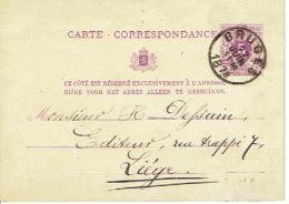 Entier Postal Lion Couché BRUGES 1878 Vers LIEGE Signé P. DELPLACE Instituteur Ecole Bogaerde - Enteros Postales