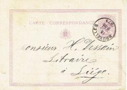 Entier Postal Lion Couché BRUXELLES 1873 Vers LIEGE Cachet Privé C. MUQUARDT Henri MERZBACH Editeur - Ganzsachen