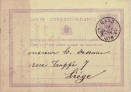 Entier Postal Lion Couché GAND 1876 Vers LIEGE Cachet Privé H.L. STEPMAN Lithographe-éditeur à GAND - Ganzsachen