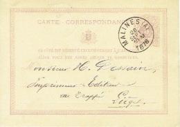 Entier Postal Lion Couché MALINES (A) 1876 Vers LIEGE Signé CAALS - Ganzsachen