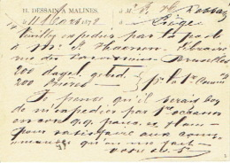 Entier Postal Lion Couché MALINES 1878 Vers LIEGE Repiquage + Cachet Privé H. DESSAIN Uitgever-drukker Te MECHELEN - Ganzsachen