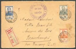 LE HAVRE Sainte ADRESSE - Affranchissement Pellens  Obl. Sc LE HAVRE (SPECIAL) Sur Lettre Recommandée Du 29-9-1915 + Gri - WW I
