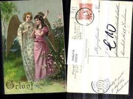 210210,Präge AK Golddruck Frau M. Kleid Engel - Engel