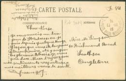 LE HAVRE Sainte ADRESSE - C.P. En SM  Obl. Sc Ste-ADRESSE Poste Belge Du 13-III-1916 Vers Southsea (GB) + Manuscrit Dépô - Guerre 14-18