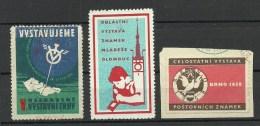 CZECHOSLOVAKIA 3 Stamp Exhibition Poster Stamps Briefmarkenausstellung Vignetten - Universal Expositions