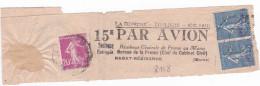 Bande Du Journal La Depêche De Toulouse 1932 Par Avion à Rabat Maroc Semeuse Avec Préoblitération Cheques Postaux - Poststempel (Briefe)