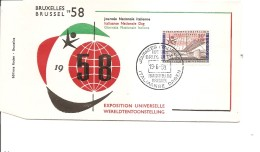 Exposition De Bruxelles -1958( FDC De La Journée Italienne à Voir)