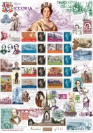 Great Britain 2015, Queen Victory 1867-1876, Rugby, Explorers, Train, Ship, Dogs, Dinosaurus, Indian, Sheetlet - Preistorici