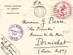 Lettre 1941 Franchise Militaire Lorient Morbihan Service Des Hopitaux Hopital Militaire - Marcofilia (sobres)