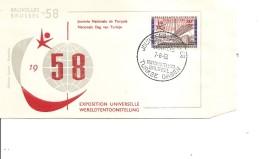 Exposition De Bruxelles -1958( FDC De La Journée Turque à Voir)