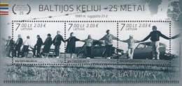 Lietuva Litauen 2014 MNH ** Mi. Nr. 1166-1168 Bl.50 25th Anniversary Of The Baltic Chain - Lithuania