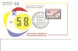 Exposition De Bruxelles -1958( FDC De La Journée Du Vénézuéla à Voir)