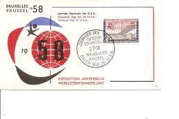 Exposition De Bruxelles -1958( FDC De La Journée Des USA à Voir)