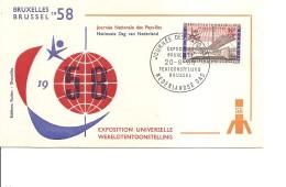 Exposition De Bruxelles -1958( FDC De La Journée Des Pays-Bas à Voir)