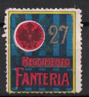 VIGNETTE MILITAIRE (DELANDRE?) : 27e REGIMENT D´INFANTERIE FANTERIA ITALIE ? GUERRE SOLDAT WW1 - Vignettes Militaires