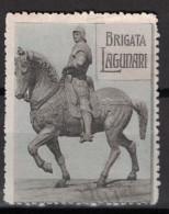 VIGNETTE MILITAIRE (DELANDRE?) : BRIGATA LAGUNARI CAVALIER STATUE CHEVAL ITALIE ? GUERRE SOLDAT WW1 - Vignettes Militaires