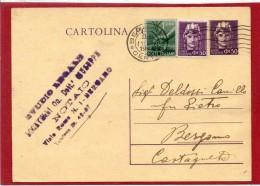 BERGAMO 1946 - CARTOLINA POSTALE LUOGOTENENZA / TURRITA CENT. 50 CON VALORE GEMELLO E DEMOCRATICA LIRE 1 -    C009 - 1946-60: Storia Postale