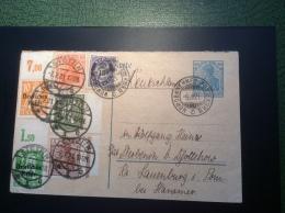 Deutsches Reich Germania Antwort Postkarte + Infla Gest. NORWEGEN BAHNPOST + Stettin 1921 (Brief Cover Norway Railroad - Briefe U. Dokumente