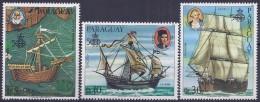 500 AÑOS DESCUBRIMIENTO DE AMÉRICA  -PARAGUAY 1985 - Yver T#Av995/97 ** - Cristoforo Colombo