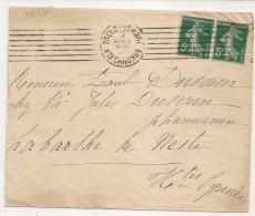 TOULOUSE GARE. Haute Garonne Sur Enveloppe SEMEUSE. 1912. - Railway Post