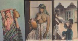Lot 3 CPA:Porteuses D'eau:Femmes Seins Nus - Femmes