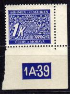 BÖHMEN & MÄHREN Porto 1939 - MiNr: 9 Plattennummer * / MLH - Böhmen Und Mähren
