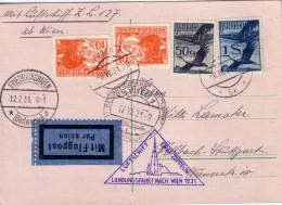 AUTRICHE - ZEPPELIN - LZ127 - WIEN - FRIEDRICHSHAFEN - LE 12-7-1931 - CACHET SPECIAL TRIANGULAIRE. - Poste Aérienne