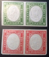 Sardinia 1855-63 2 Pairs 5c DOUBLE IMPRESSION OF HEAD, Original Printing?(Sardegna Sardaigne Italia Italy Italie - Sardaigne
