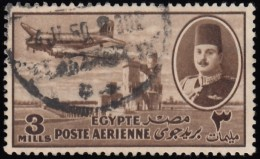 EGYPT - Scott #C40 King Farouk, Delta Dam & DC-3 Plane / Used Stamp - Posta Aerea