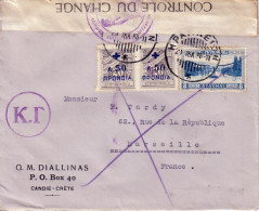 CRETE - CANDIE - BANDE DE CONTROLE DU CHANGE - LETTRE POUR MARSEILLE LE 20-7-1938. - Kreta
