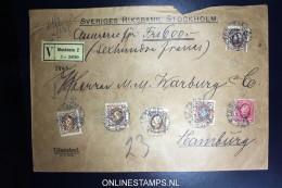 Sweden: Registered Cover Value Declared 1909 Mixed Stamps Sveriges Riksbank To Mamburg Wax Sealed