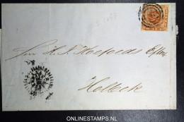 Denmark  Letter 1858 Copenhagen To Holbaeck Fa Nr 4 Nice Borders, CLOCK Letter - 1851-63 (Frederik VII)